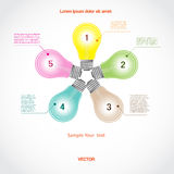 Conceptual vector icon, a five light bulb for diagram Royalty Free Stock Photo