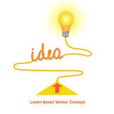 Conceptual vector icon, light bulb idea abstract background Stock Photography