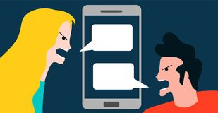 Conceptual vector illustration with angry woman and boy quarreling. By smartphone technology conversation mobile Stock Photos
