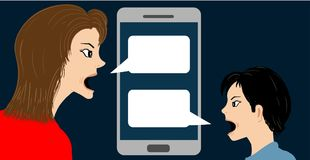 Conceptual vector illustration with angry woman and boy quarreling. By smartphone technology conversation mobile Royalty Free Stock Photos
