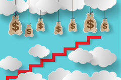 Conceptual vector illustration. Climb the stairs to make money vector illustration