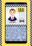 Conceptual vector illustration. Interface online service taxi on. Conceptual vector illustration. An online service taxi in your phone Royalty Free Stock Images