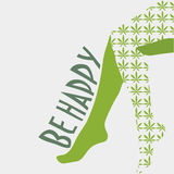 Conceptual vector illustration: sexy female legs with cannabis leaf stockings on. Text Be Happy. Stock Photos