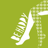 Conceptual vector illustration: sexy female legs with cannabis leaf stockings on. Text Be Happy. Royalty Free Stock Photography
