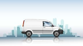 Conceptual vector illustration of van on a urban background. stock images