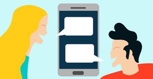 Conceptual vector illustration with woman and boy communicating in chat. By smartphone technology conversation mobile Royalty Free Stock Images