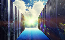 Conceptual vision of Datacenter on the cloud Computing Royalty Free Stock Images