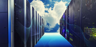 Conceptual vision of Datacenter on the cloud  Computing Stock Photography