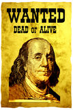 Conceptual WANTED poster. The head of USA 100 dollars bill- president Franklin stock image