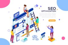 Conceptual web seo illustration landing page website. Conceptual web seo illustration. Landing page for stylish website. Teamwork project, web agency or male vector illustration