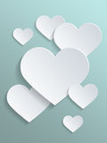 Conceptual White Hearts Against Light Gray Green Stock Image