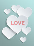 Conceptual White Hearts Against Light Gray Green Stock Photo