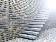 Conceptual white stone or concrete stair or steps near a brick wall Royalty Free Stock Images