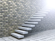 Conceptual white stone or concrete stair or steps near a brick wall Royalty Free Stock Photo