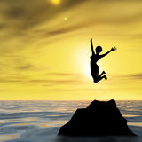 Conceptual woman silhouette jumping at sunset Stock Photography