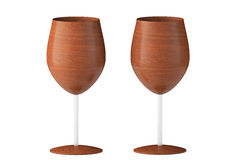 Conceptual Wooden Wine Glasses. On a white background stock photography
