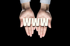 Conceptual word in palms Stock Images
