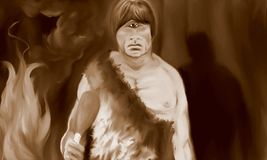 The Cyclops in the Cave Sepia stock illustration