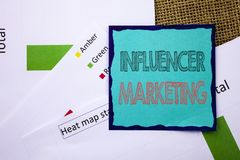 Conceptual writing text showing Influancer Marketing. Concept meaning Social Media Online Influence Strategy written on Sticky Not Royalty Free Stock Images