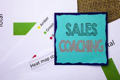 Conceptual writing text showing Sales Coaching. Concept meaning Business Goal Achievement Mentoring written on Sticky Note Paper o royalty free stock images