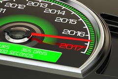Conceptual 2017 year speedometer closeup, 3D rendering. Conceptual 2017 year speedometer closeup Royalty Free Stock Photography