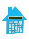 Conceptueel beeld - 3d huis de calculator Stock Foto