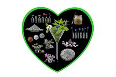 Conceptueel beeld: Alternatieve kruidengeneeskunde in zwarte achtergrondhartvorm op wit kruidengeneeskundeconcept royalty-vrije stock foto's