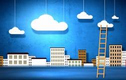 Conceptueel beeld met ladder om wolken te babbelen royalty-vrije stock afbeeldingen