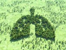 Conceptueel beeld van een bos in vorm van longen royalty-vrije illustratie