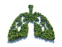 Conceptueel beeld van een bos in vorm van longen stock illustratie
