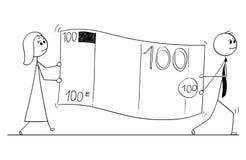 Conceptueel Beeldverhaal van Bedrijfsmensen Carry Large Euro Bill Banknote Royalty-vrije Stock Afbeeldingen