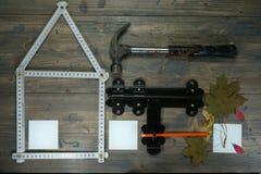 Conceptueel bouw en vernieuwingsstilleven Stock Foto