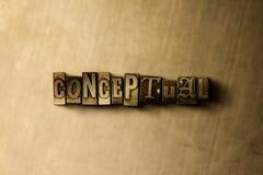 CONCEPTUEEL - close-up van grungy wijnoogst gezet woord op metaalachtergrond royalty-vrije illustratie