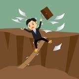 Conceptueel concept zakenman in crisis het lopen stock illustratie