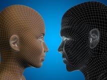 Conceptueel 3D wireframe of netwerk menselijk mannelijk en vrouwelijk hoofd Royalty-vrije Stock Afbeelding