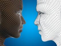 Conceptueel 3D wireframe of netwerk menselijk mannelijk en vrouwelijk hoofd Royalty-vrije Stock Foto's