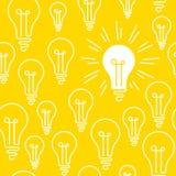 Conceptueel, naadloos patroon, één het heldere glanzen lightbulb onder velen stock illustratie