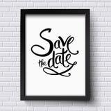 Conceptueel sparen de Datumteksten op een Kader royalty-vrije illustratie