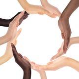 Conceptueel symbool van multiraciale menselijke handen Royalty-vrije Stock Foto