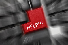 Conceptueel toetsenbord - Hulp (rode sleutel). Het effect van het gezoem Royalty-vrije Stock Afbeeldingen