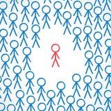Conceptuel : Personne entourée par la foule Image libre de droits