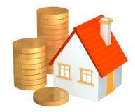 Conceptuele 3d huis en kolommen van gouden muntstukken Royalty-vrije Stock Foto's