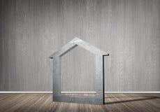 Conceptuele achtergrond van concreet huisteken in ruimte met houten vloer Stock Afbeelding