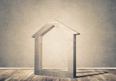 Conceptuele achtergrond van concreet huisteken in ruimte met w Royalty-vrije Stock Foto's