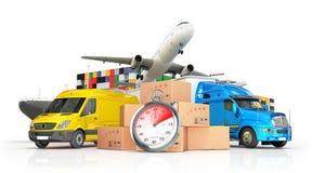 Conceptuele achtergrond van internationale leveringen, Stock Foto