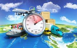 Conceptuele achtergrond van internationale leveringen, Royalty-vrije Stock Afbeelding