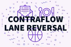 Conceptuele bedrijfsillustratie met de woorden contraflow steeg stock illustratie