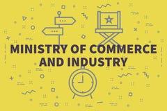 Conceptuele bedrijfsillustratie met het woordenministerie van comm royalty-vrije illustratie