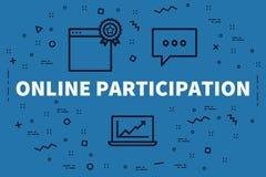 Conceptuele bedrijfsillustratie met woorden online participa stock illustratie