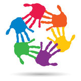 Conceptuele cirkelspiraal van kleurrijke handdrukken Stock Foto